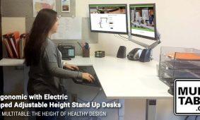 Electric L Shaped Adjustable Height Stand Up Desks MultiTable Standing Desks