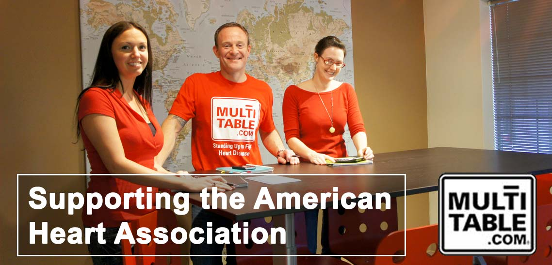 MultiTable Supports The American Heart Association MultiTable Standing Adjustable Desks