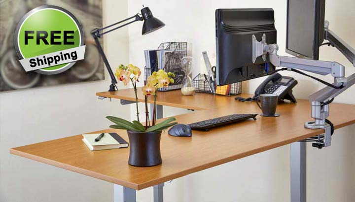 Standing Desk Electric L Shape Height Adjustable Office Desk MultiTable 1