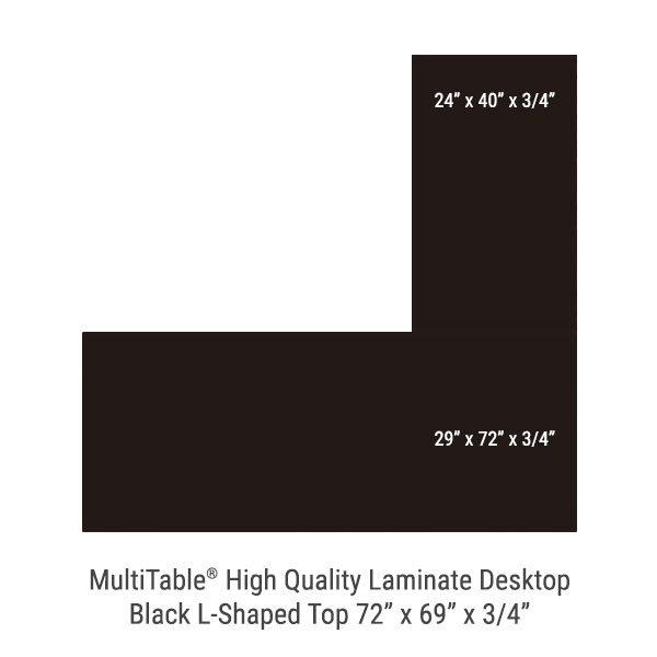Black L Shaped Standing Desk Top