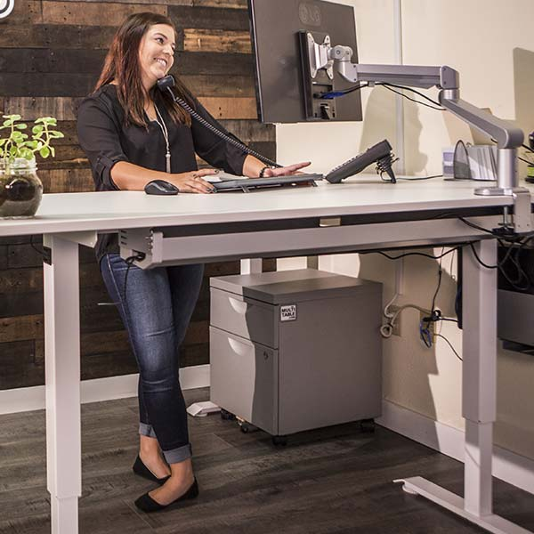 Electric Standing Desk Base White Multitable 1