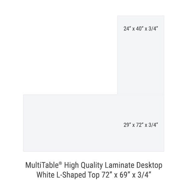 White L Shaped Standing Desk Top 1