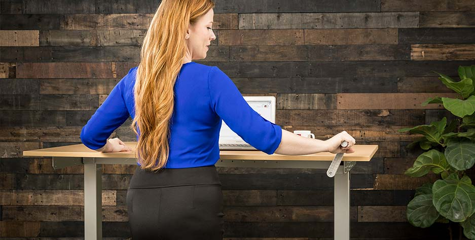 Hand Crank Standing Desk by MultiTable