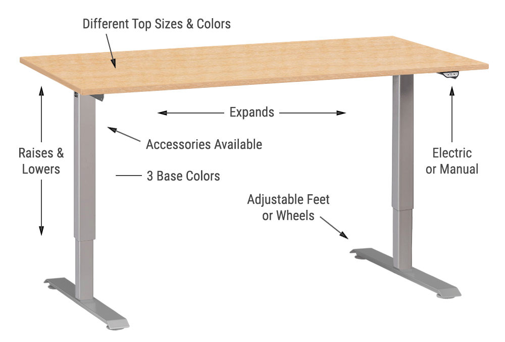 Height Adjustable Standing Office Desk Workstation MultiTable