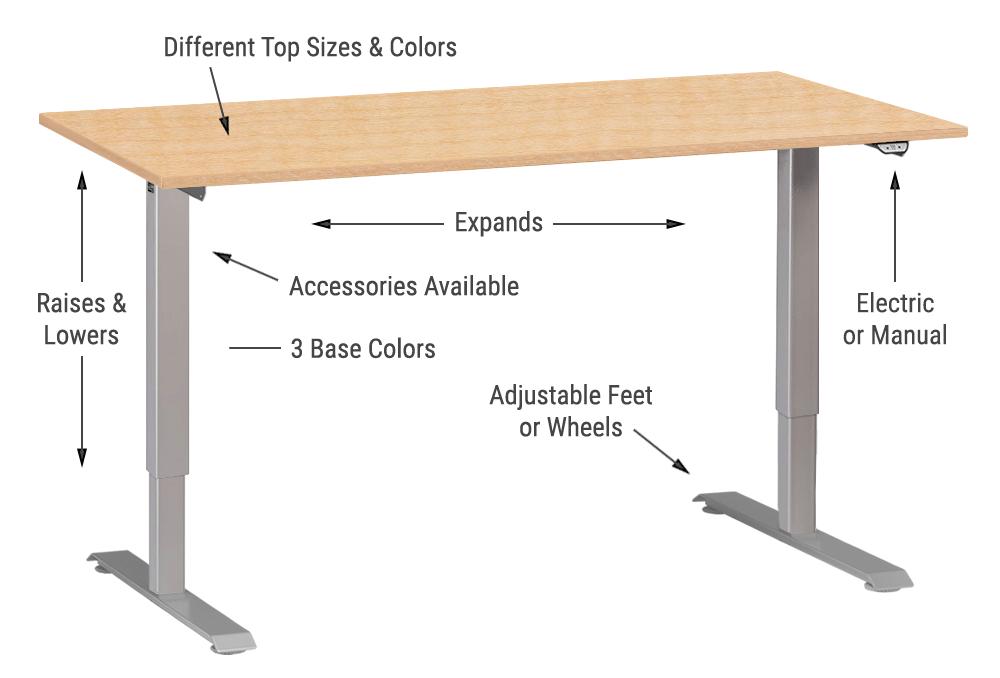 Height Adjustable Standing Office Desk Workstation MultiTable