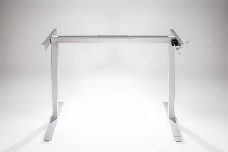 Hand Crank Standing Desk Silver Frame