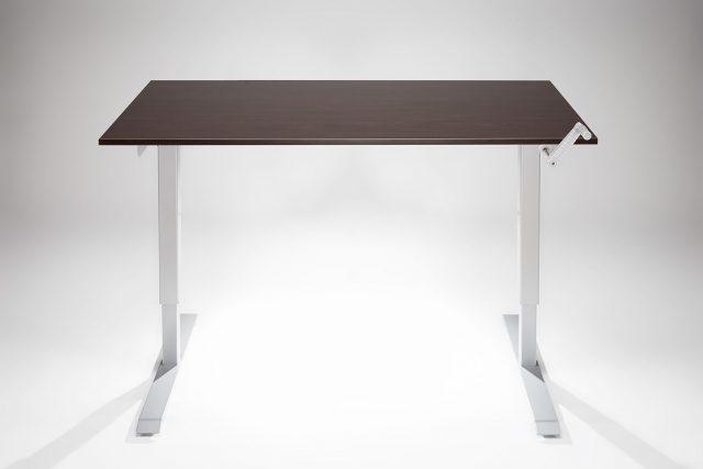 Hand Crank Standing Desk Silver Frame Espresso Desk Top