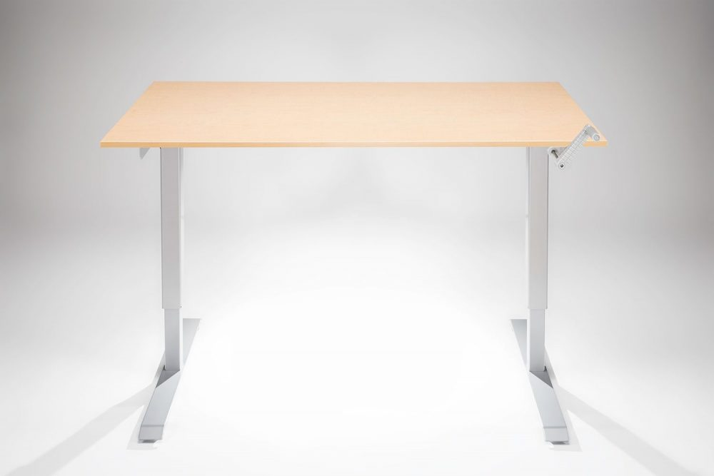 Hand Crank Standing Desk Silver Frame Fusion Maple Desk Top