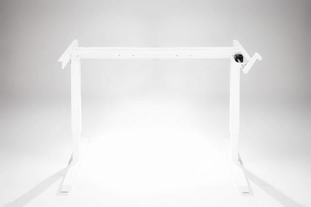 Hand Crank Standing Desk White Frame