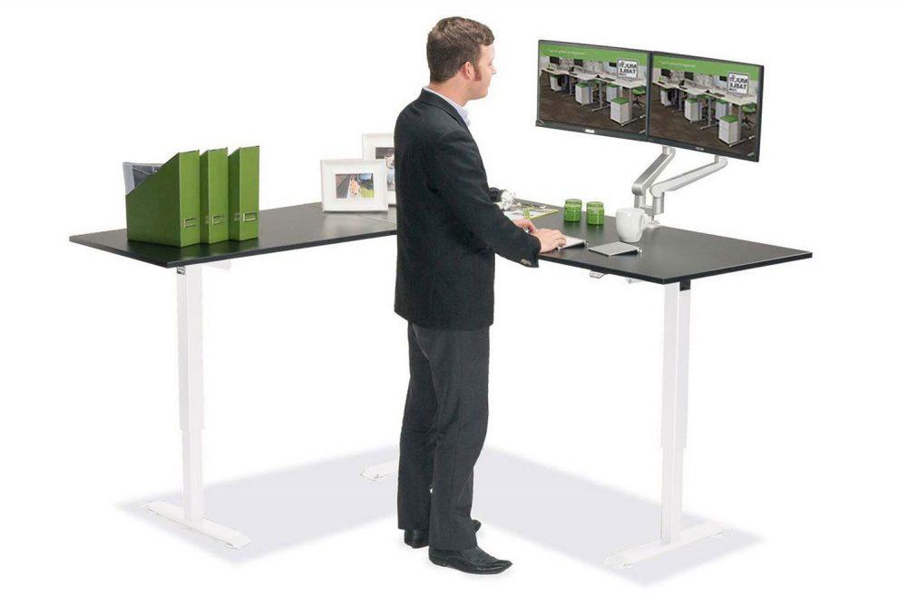 L Shaped Standing Desk Black L White MultiTable