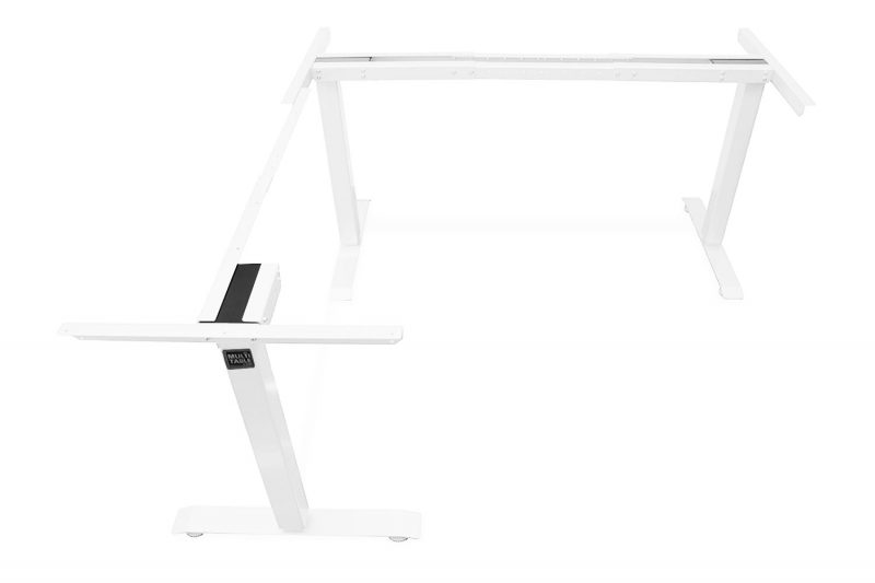 L Shaped Standing Desk Frame White Return Left