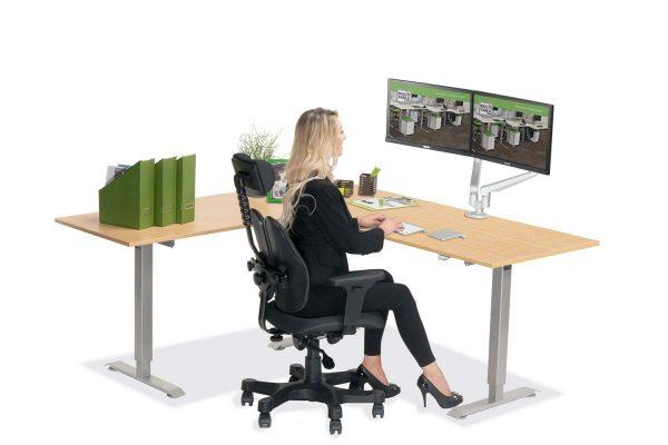 L Shaped Standing Desk Fusion Maple L 2 Multitable