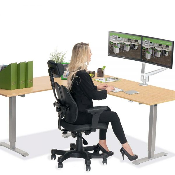 L Shaped Standing Desk Fusion Maple L 2 Multitable
