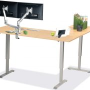 L Shaped Standing Desk Fusion Maple L 3 Multitable