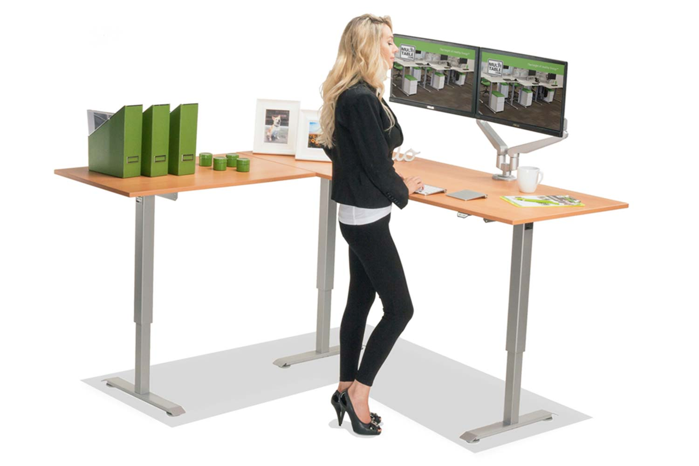 L Shaped Standing Desk Natural Pear L 1 Multitable