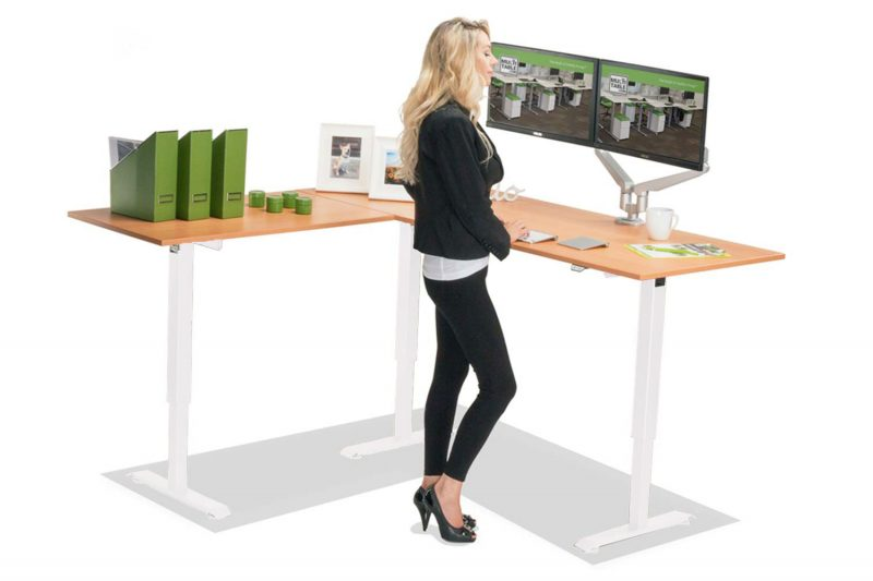 L Shaped Standing Desk Natural Pear L White MultiTable 1
