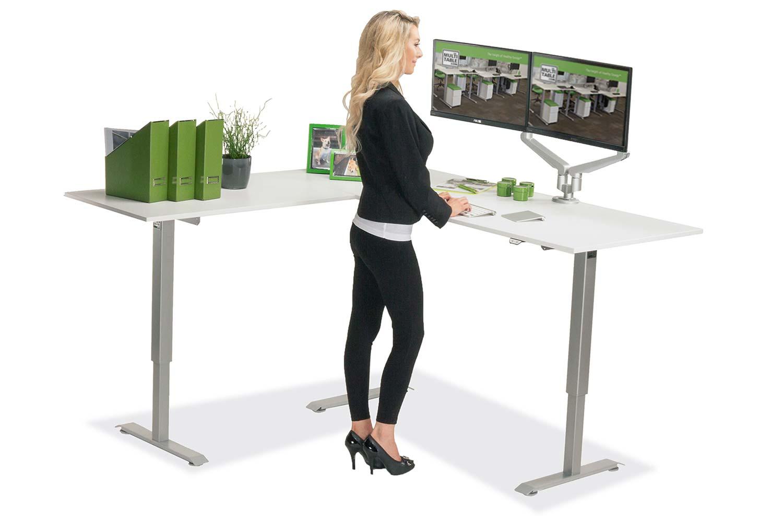 L Shaped Standing Desk White L 1 Multitable
