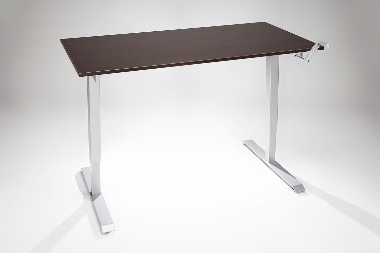 Manual Hand Crank Standing Desk Angled Silver Espresso