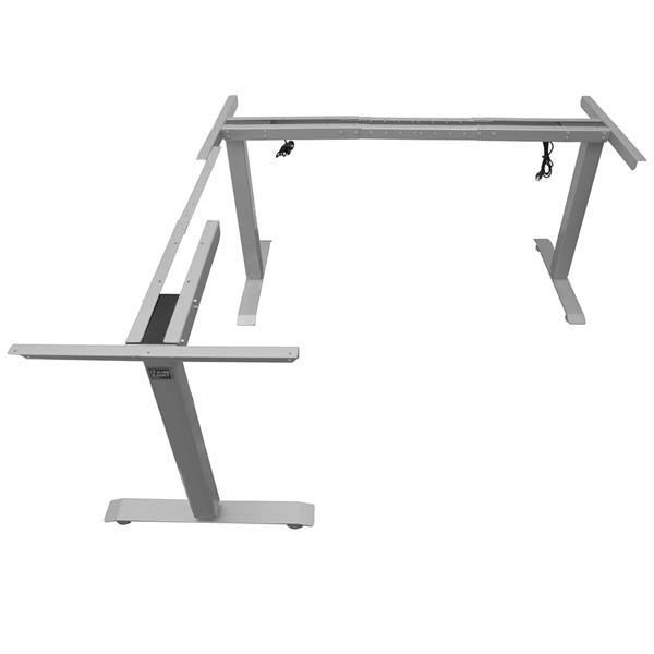 Electric L Shaped Standing Desk Base Return On Left Silver