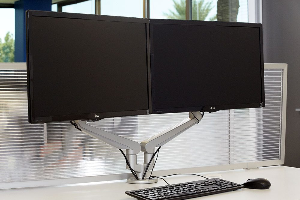 Height Adjustable Standing Desk Dual Monitor Arms MultiTable