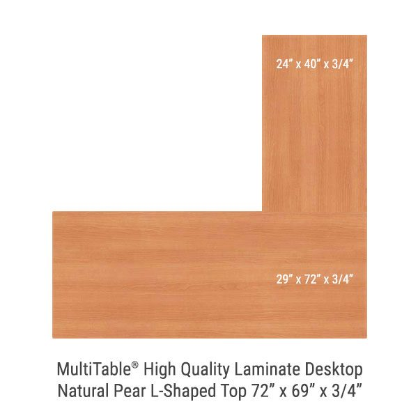 Natural Pear L Shaped Standing Desk Top