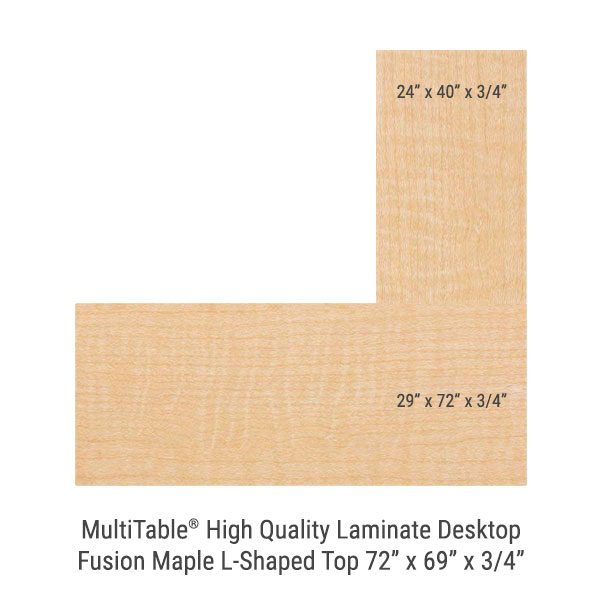 Fusion Maple L Shaped Standing Desk Top