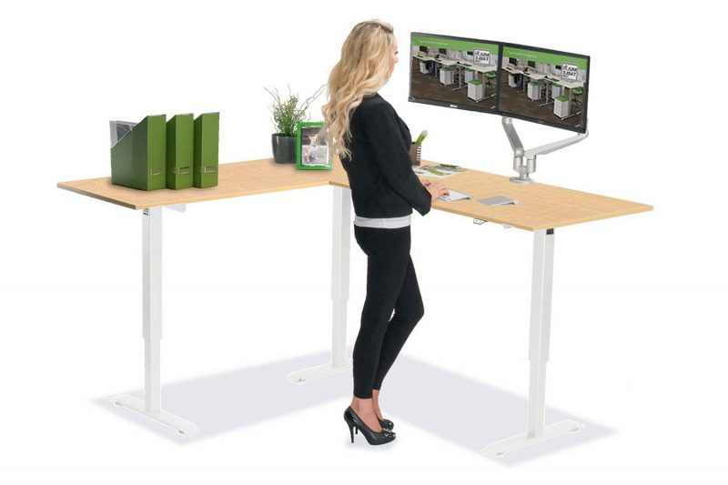 L Shaped Standing Desk White L 1 Fusion Maple Top MultiTable