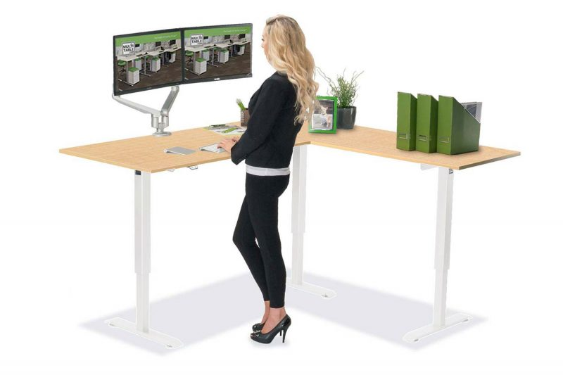 L Shaped Standing Desk White R 1 Fusion Maple Top MultiTable
