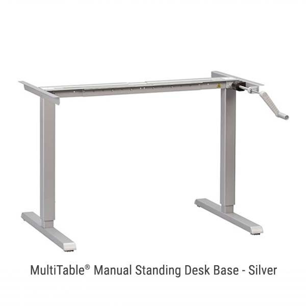 Manual Standing Desk Base Silver Adjustable