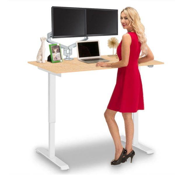 Electric Height Adjustable Computer Desk Large Fusion Maple DeskTop MultiTable