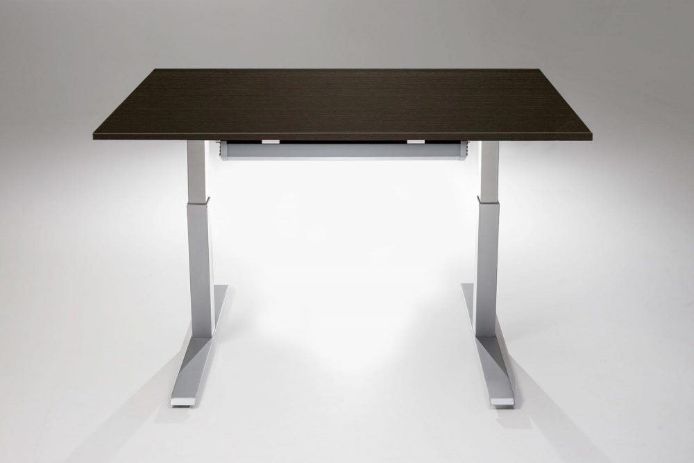 Mod E Pro Height Adjustable Standing Desk Silver Base Libretti Table Top With Cable Management Tray MultiTable