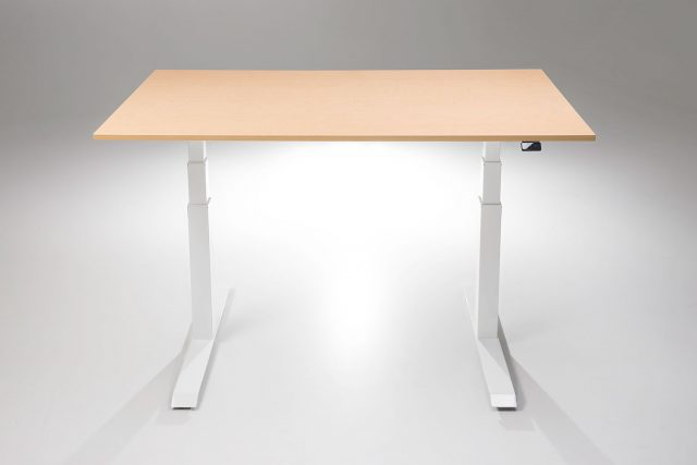 The ModDesk Pro White Base Fusion Maple Desk Top