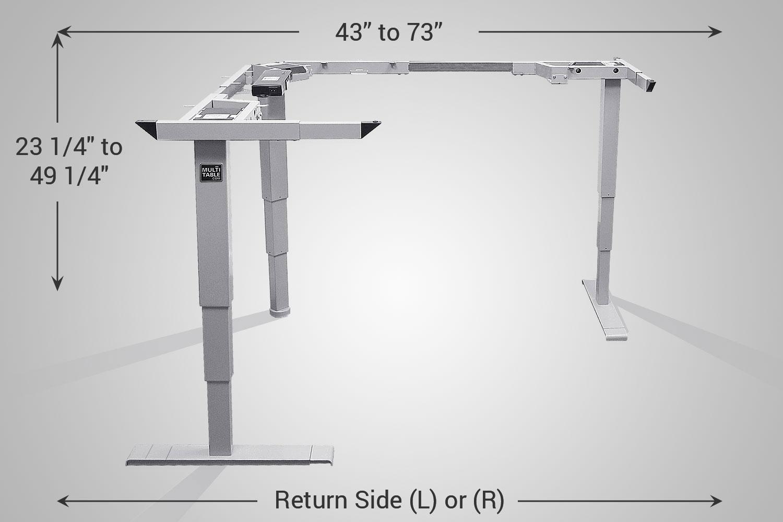 L Shaped Standing Desk Silver Frame MultiTable