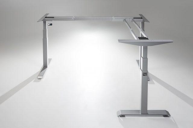 ModDesk Pro L Shaped Standing Desk Silver Frame Return Right