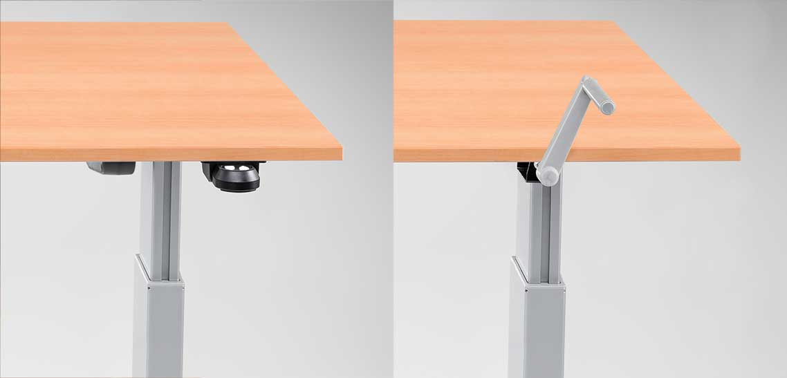 FlexTable Manual Hand Crank Or Electric Motorized Push Button Height Adjustable Sit Stand Desk MultiTable