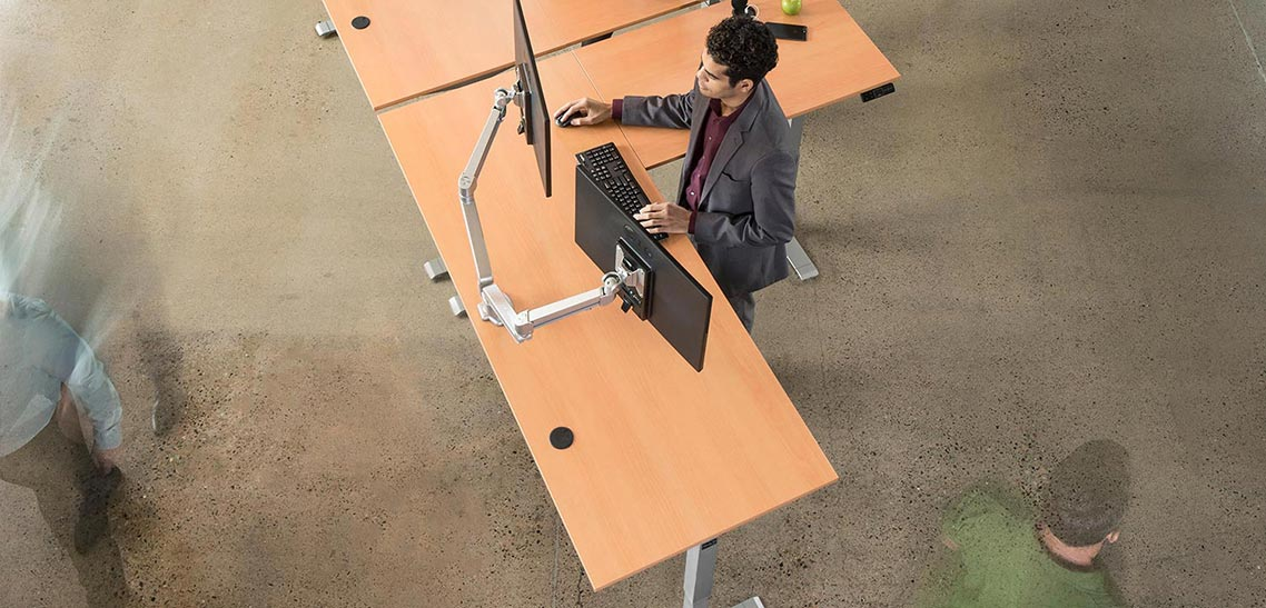 L Shaped Height Adjustable Corner Standing Desk By MultiTable