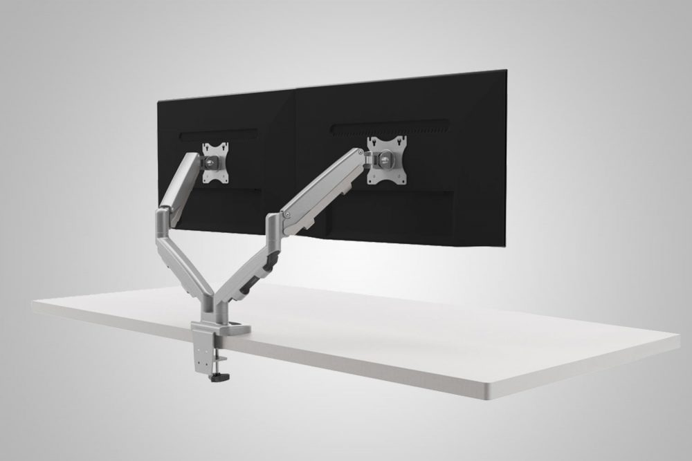 Dual Monitor Arms Ergo Silver MultiTable