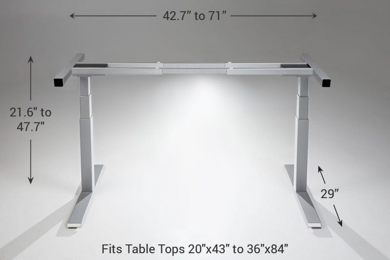 Mod E Pro 2 Step Height Adjustable Standing Desk Frame Standard Silver 29 MultiTable