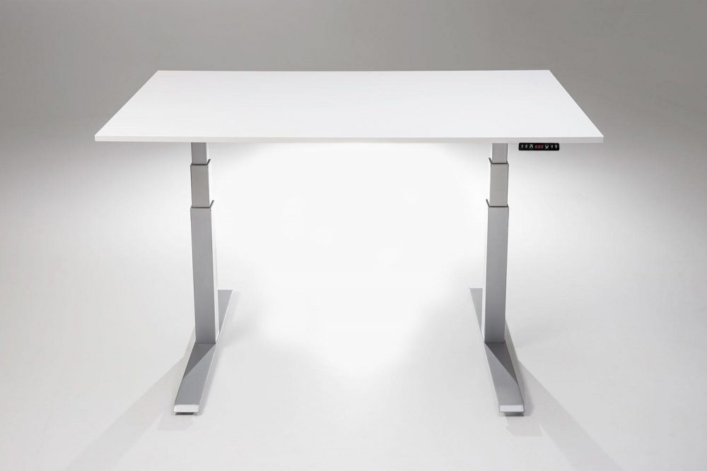Mod E Pro Height Adjustable Standing Desk Silver Base White Table Top