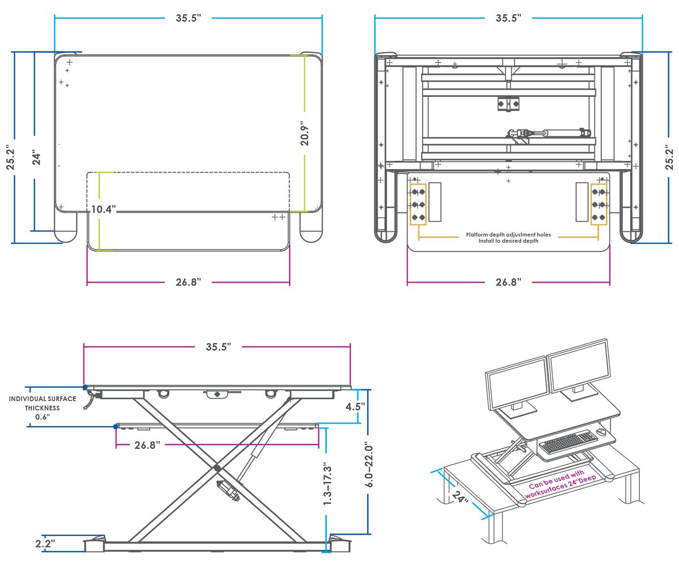 MultiTable Standing Desk Converter Dimensions