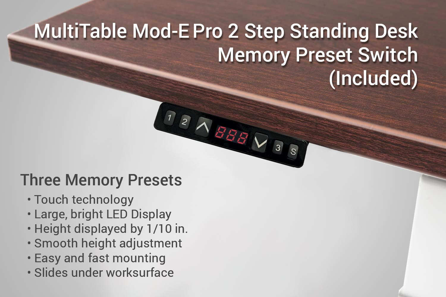 MultiTable Mod E Pro 2 Step Electric Standing Desk Memory Preset Up Down Switch