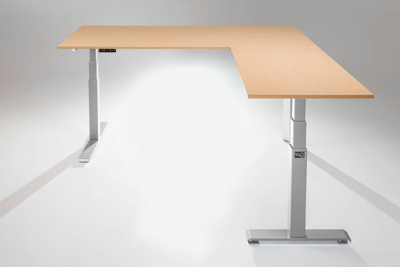Mod E Pro L Shaped Standing Desk Frame Silver R Fusion Maple Table Top Ergonomic Furniture MultiTable