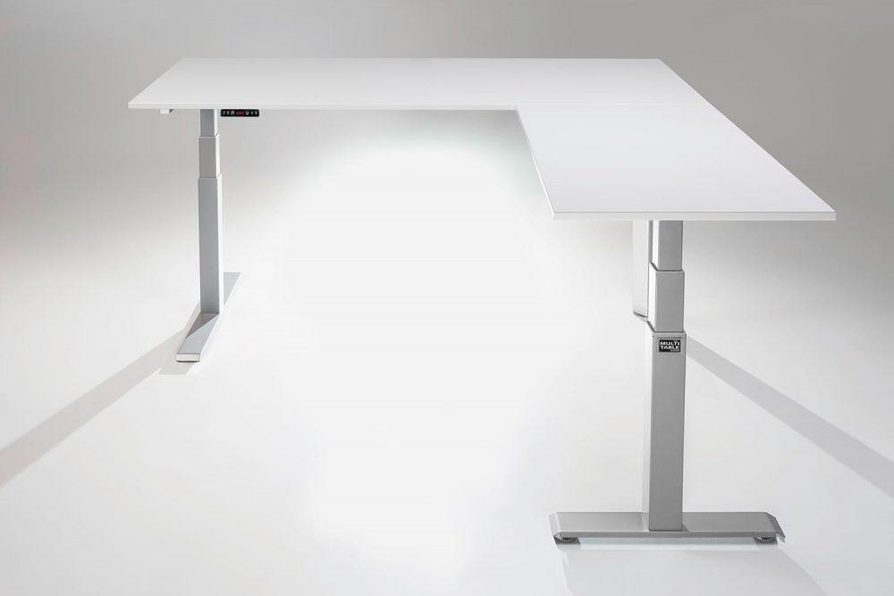 Mod E Pro L Shaped Standing Desk Frame Silver R White Table Top Ergonomic Furniture MultiTable