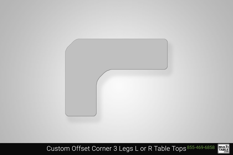 Custom Offset Corner 3 Legs L Or R Standing Desk Table Top Shape Options MultiTable Office Furniture Manufacturing Phoenix Arizona Since 2010