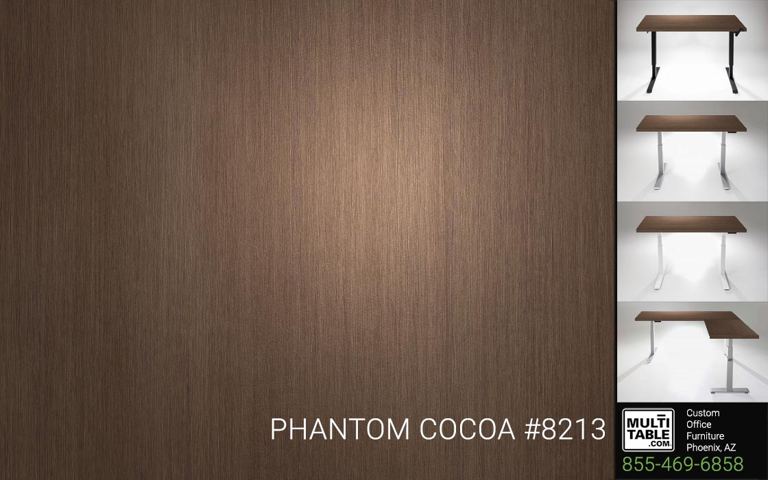 Custom Standing Desk Table Top Options MultiTable Office Furniture Manufacturer Supplier Phoenix Arizona Wilsonart Phantom Cocoa 8213