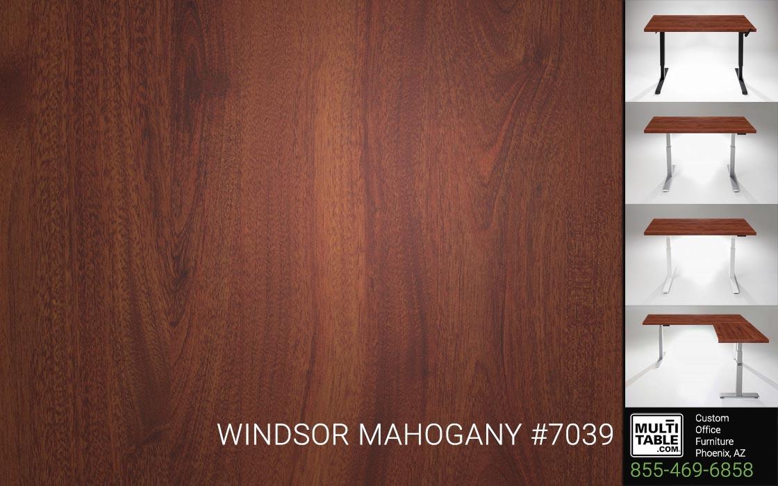 Custom Standing Desk Table Top Options MultiTable Office Furniture Manufacturer Supplier Phoenix Arizona Wilsonart Windsor Mahogany 7039