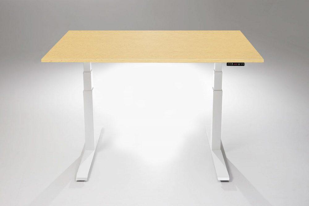 Mod E Pro Height Adjustable Standing Desk White Base Hardrock Maple Table Top MultiTable