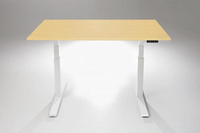 Mod E Pro Height Adjustable Standing Desk With Hardrock Maple Table Top MultiTable