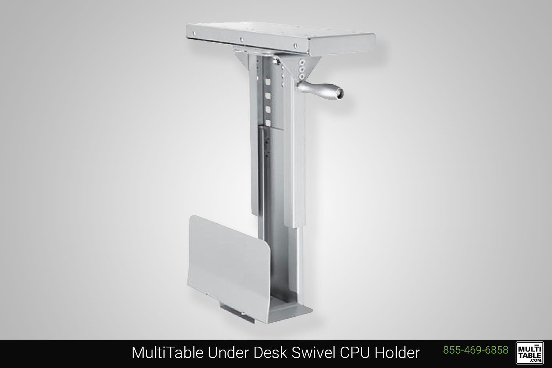 Custom Standing Desk Ergonomic Accessories Under Desk Swivel CPU Holder MultiTable Office Furniture Manufacturing Phoenix Arizona Since 2010