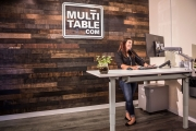 L Shaped 3 Leg Adjustable Height Standing Desk By MultiTable